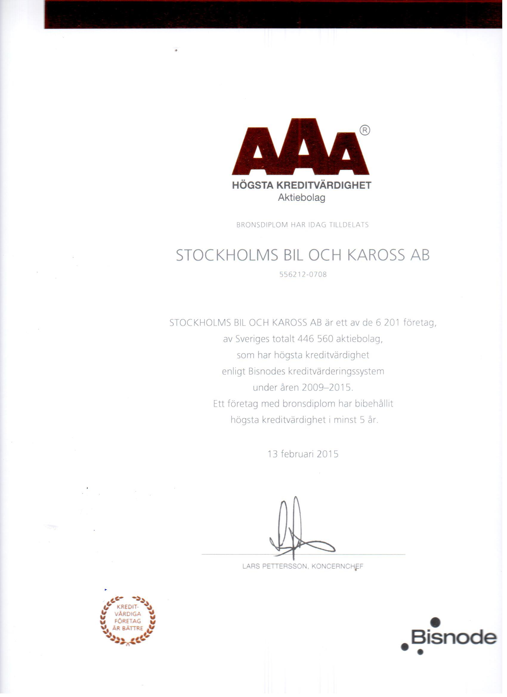 Bronsdiplom AAA rating