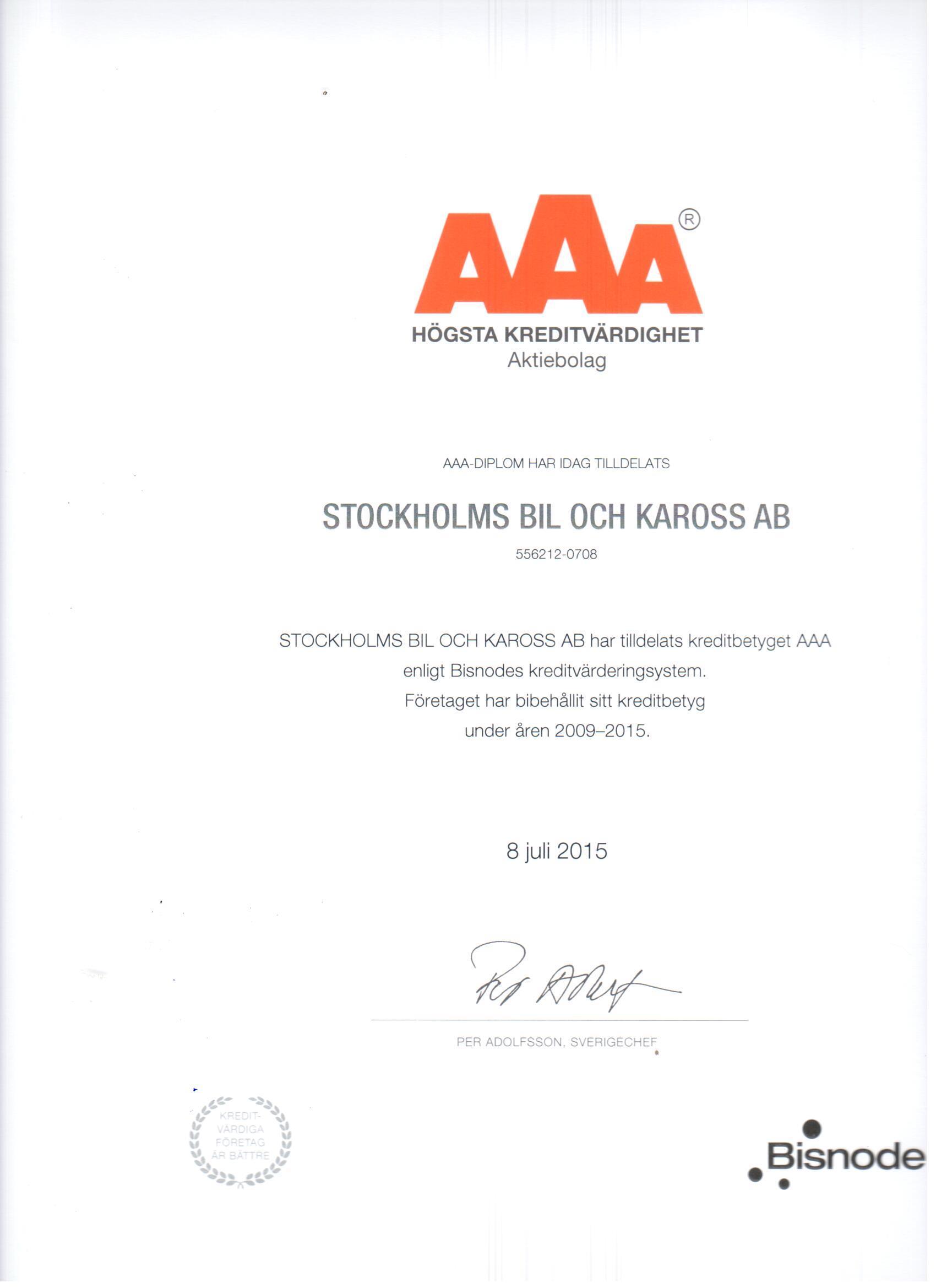 AAA rating Stockholms Bil och Kaross