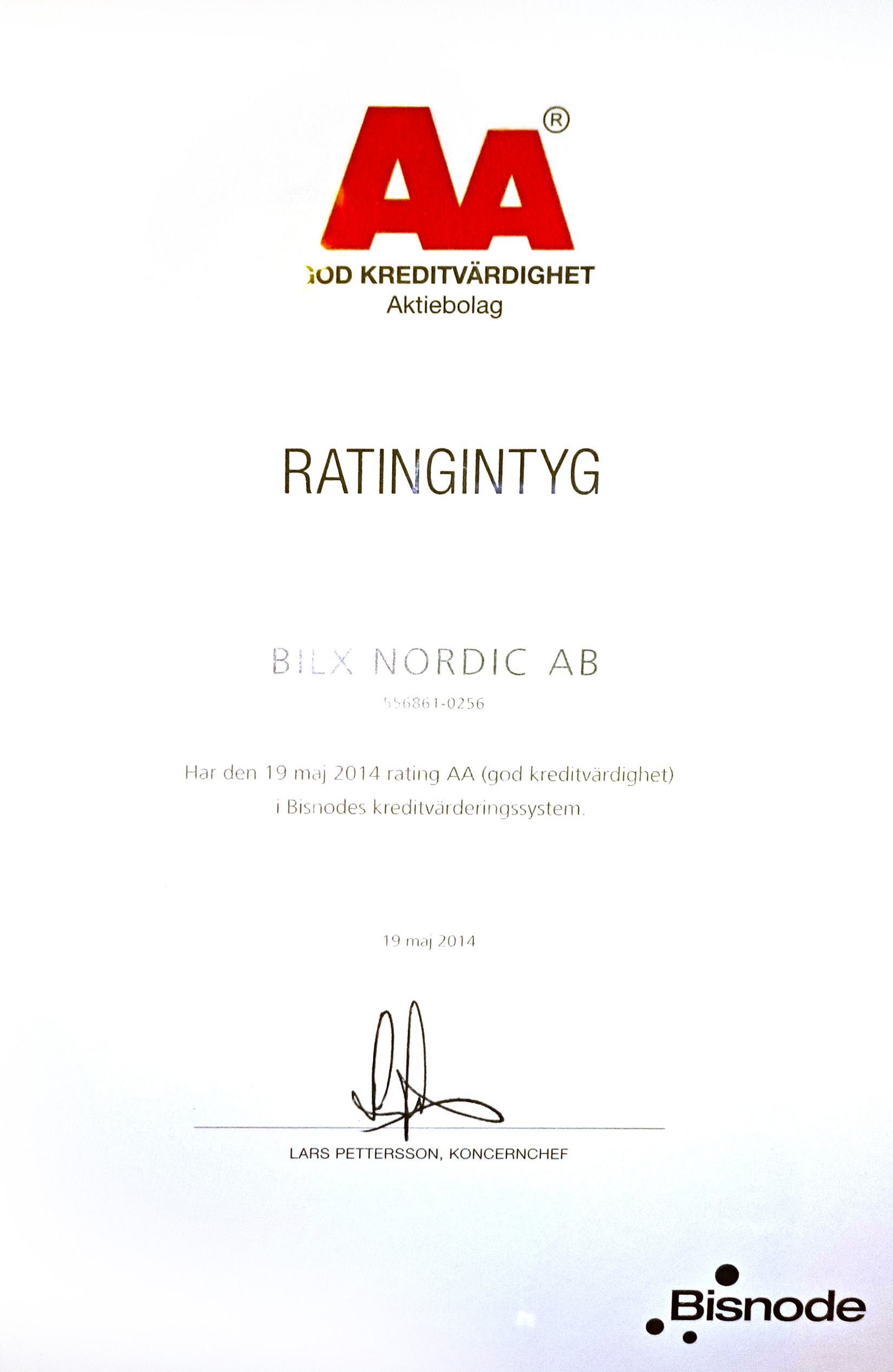 AA-ratingbetyg